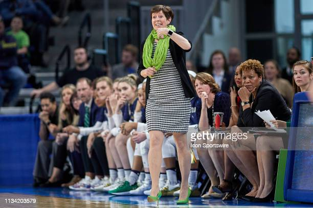 Notre Dame Fighting Irish head coach Muffet McGraw calls a play in game action during the Women's NCAA Division I Championship Third Round game...