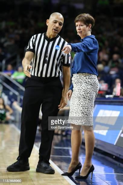 Notre Dame Fighting Irish head coach Muffet McGraw questions a call with an official during the NCAA Division I Women's Championship second round...