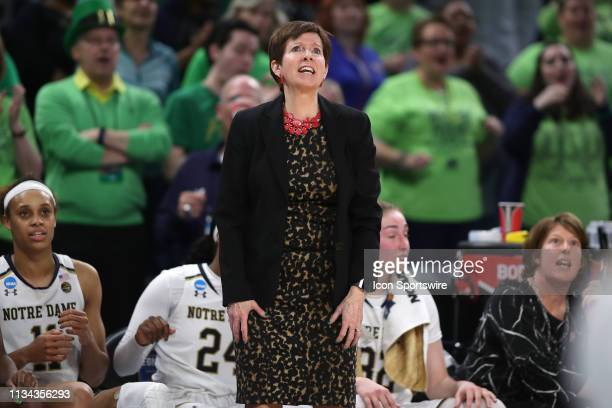 Notre Dame Fighting Irish head coach Muffet McGraw reacts to a play in game action during the Women's NCAA Division I Championship Quarterfinals game...
