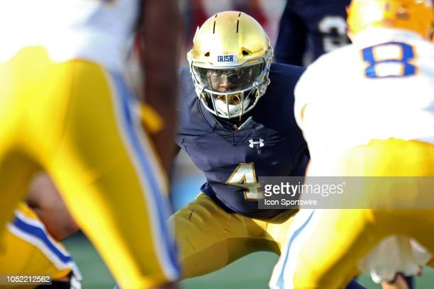 Notre Dame Fighting Irish linebacker Te'von Coney before the snap during the college football game between the Notre Dame Fighting Irish and...