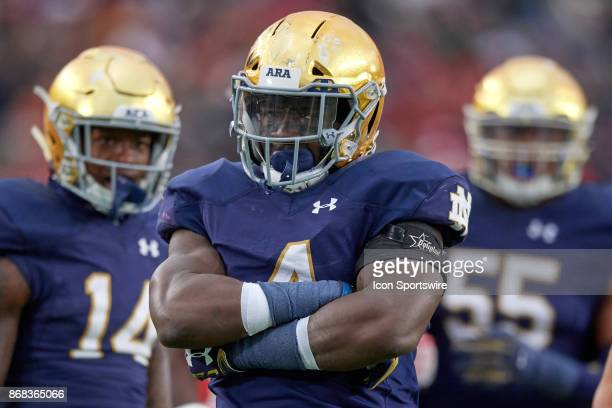 Notre Dame Fighting Irish linebacker Te'von Coney celebrates after a tackle during the college football game between the Notre Dame Fighting Irish...