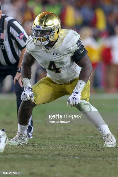 Notre Dame Fighting Irish linebacker Te'von Coney during a college football game between the Notre Dame Fighting Irish versus USC Trojans on November...