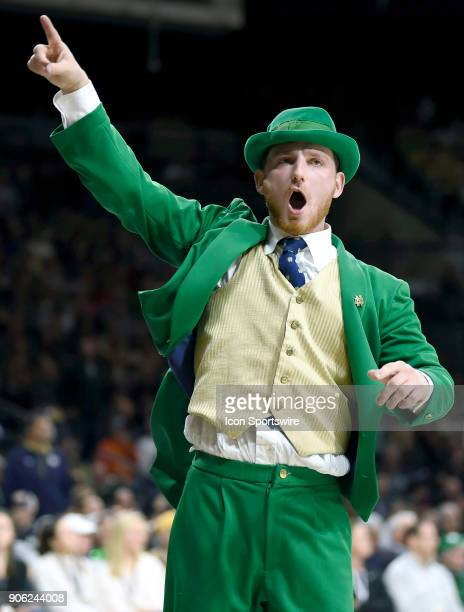 Notre Dame Fighting Irish mascot the Leprechaun celebrates during the college basketball game between the Louisville Cardinals and the Notre Dame...