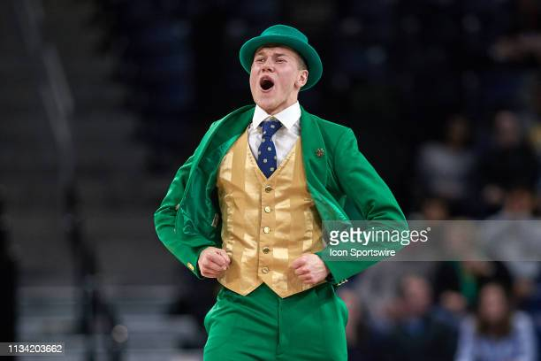 Notre Dame Fighting Irish mascot the leprechaun celebrates in game action during the Women's NCAA Division I Championship Third Round game between...