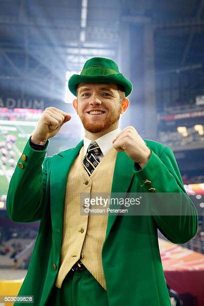 Notre Dame Fighting Irish mascot the Leprechaun poses for a photo before the BattleFrog Fiesta Bowl against the Ohio State Buckeyes at University of...