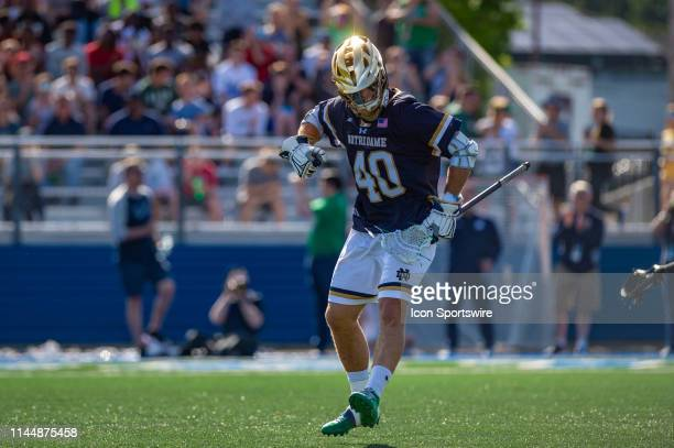 Notre Dame Fighting Irish midfielder Brendan Gleason celebrates after scoring a goal during the second half of the NCAA Lacrosse Championships...