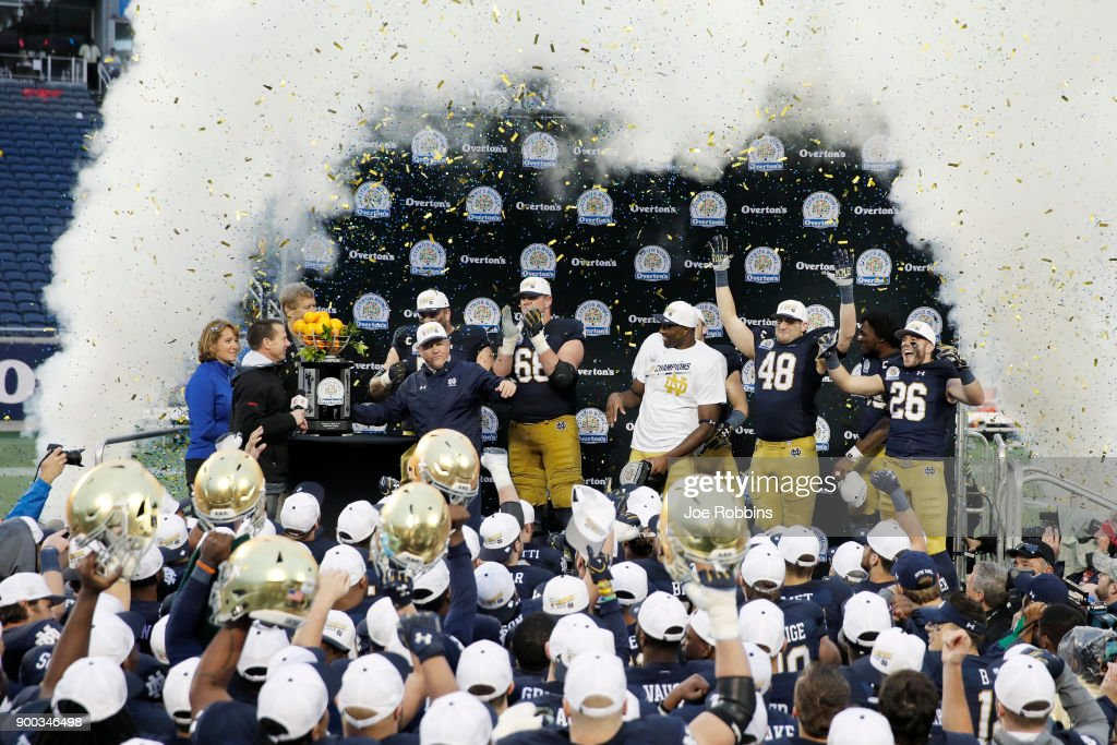 Notre Dame Fighting Irish players celebrate following the Citrus Bowl against the LSU Tigers on January 1, 2018 in Orlando, Florida. Notre Dame won 21-17.