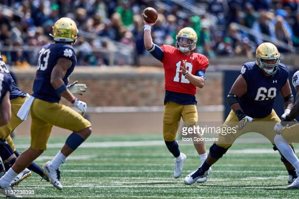 Notre Dame Fighting Irish quarterback Ian Book throws the football to Notre Dame Fighting Irish wide receiver Chase Claypool in action during the...