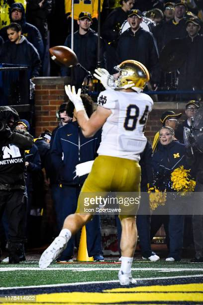 Notre Dame Fighting Irish tight end Cole Kmet catches a touchdown pass during the Michigan Wolverines versus Notre Dame Fighting Irish game on...