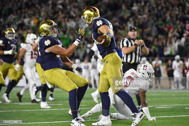 Notre Dame Fighting Irish tight end Cole Kmet celebrates with teammates after scoring a touchdown in action during a college football game between...