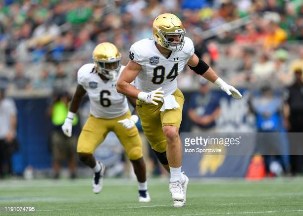 Notre Dame Fighting Irish tight end Cole Kmet runs a route during the first half of the Camping World Bowl between the Notre Dame Fighting Irish and...
