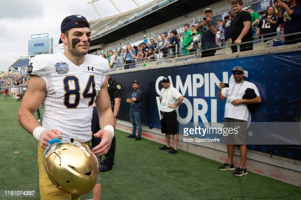 Notre Dame Fighting Irish tight end Cole Kmet walks off the field following the game between Notre Dame Fighting Irish and Iowa State Cyclones on...