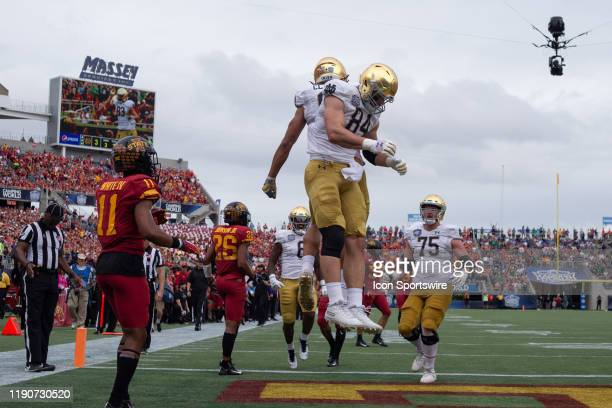 Notre Dame Fighting Irish wide receiver Chase Claypool and Notre Dame Fighting Irish tight end Cole Kmet celebrate a touchdown during the game...