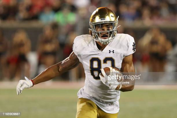 Notre Dame Fighting Irish wide receiver Chase Claypool carries the ball during the game against the Notre Dame Fighting Irish and the Louisville...