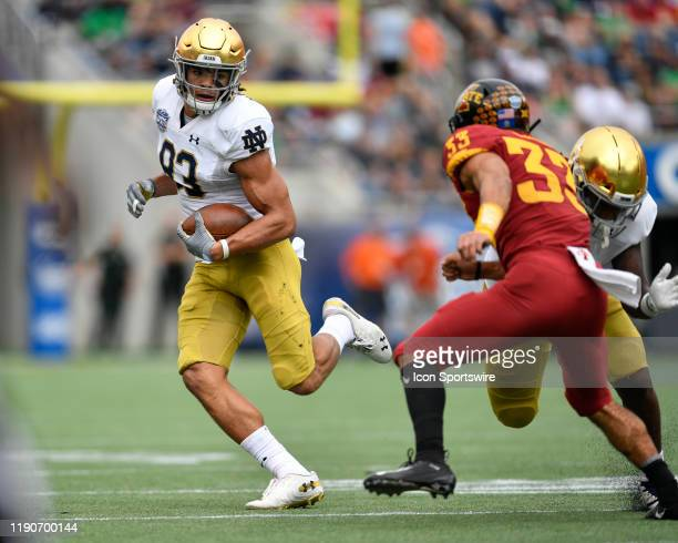 Notre Dame Fighting Irish wide receiver Chase Claypool carries the ball during the first half of the Camping World Bowl between the Notre Dame...