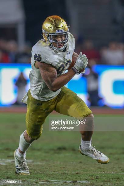 Notre Dame Fighting Irish wide receiver Chase Claypool catches the ball for a gain during a college football game between the Notre Dame Fighting...
