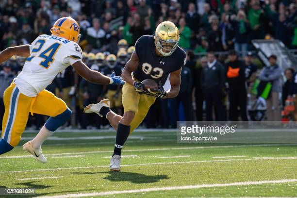 Notre Dame Fighting Irish wide receiver Chase Claypool dives in for a 16yard touchdown during the college football game between the Notre Dame...