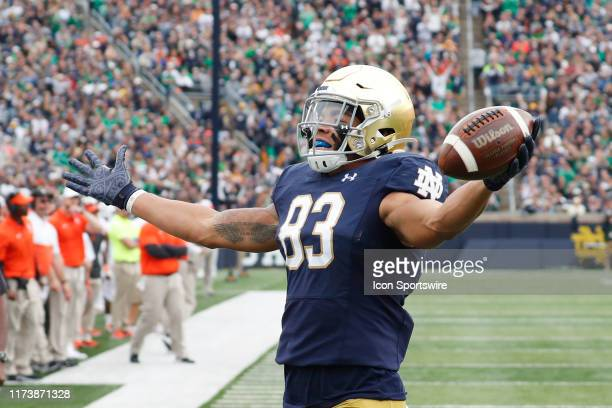 Notre Dame Fighting Irish wide receiver Chase Claypool reacts to scoring a touchdown against the Bowling Green Falcons during the second quarter on...