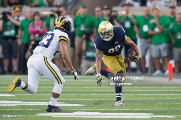 Notre Dame Fighting Irish wide receiver Chase Claypool runs with the ball during game action between the Michigan Wolverines and the Notre Dame...