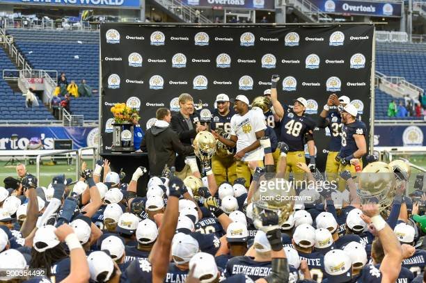 Notre Dame Fighting Irish wide receiver Miles Boykin accepts the MVP award during the award ceremony of the Citrus Bowl game between the Notre Dame...