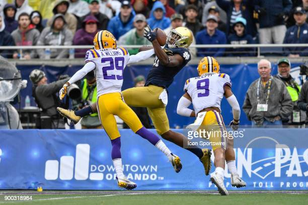 Notre Dame Fighting Irish wide receiver Miles Boykin has the reception broken up by LSU Tigers cornerback Andraez Williams during the first half of...