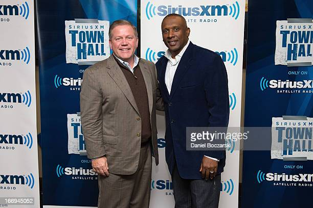 Notre Dame football coach Brian Kelly and Tim Brown attend SiriusXM's Notre Dame Town Hall with Brian Kelly and Tim Brown, live from Notre Dame...
