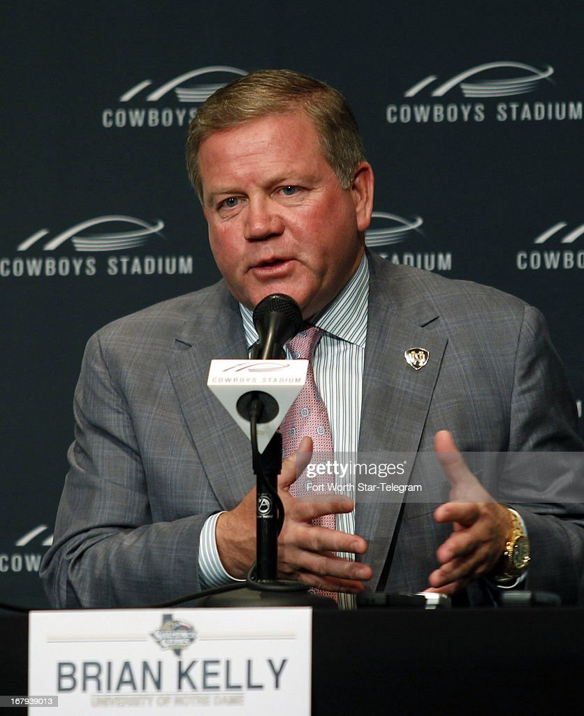 Notre Dame football coach Brian Kelly speaks during a news conference on Thursday, May 2, 2013, at Cowboys Stadium in Arlington, Texas. Notre Dame is scheduled to play Arizona State in the $1.2 billion showplace of the Dallas Cowboys in the latest of the so-called 'Shamrock Series' — home games away from storied Notre Dame Stadium.