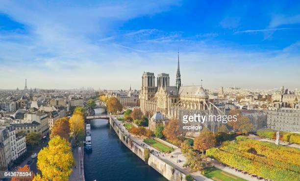 notre dame from above, paris - notre dame de paris stock photos and pictures