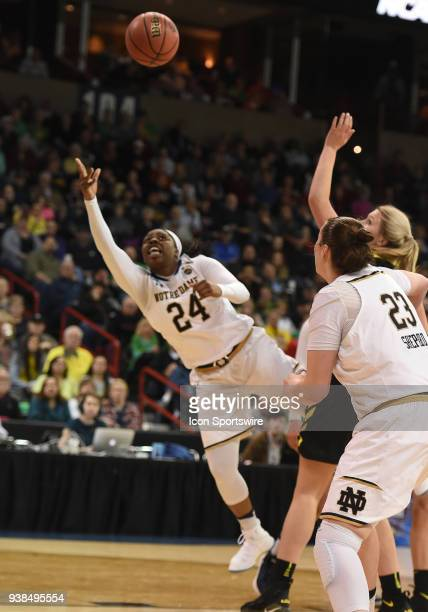 Notre Dame guard Arike Ogunbowale puts up an offbalance shot during the game between the Oregon Ducks and the Notre Dame Fighting Irish played on...