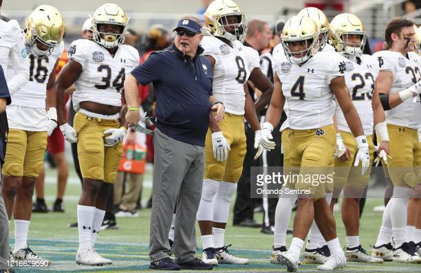 Notre Dame head coach Brian Kelly before the Camping World Bowl against Iowa State at Camping World Stadium in Orlando, Fla., on Saturday, Dec. 28,...