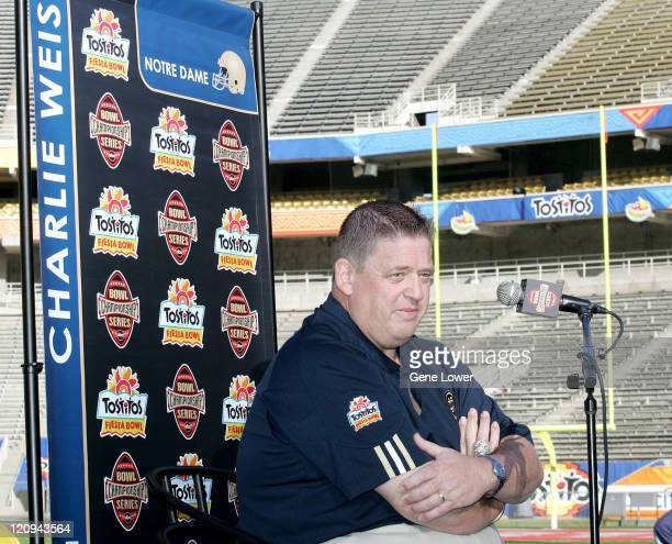 Notre Dame head coach Charlie Weis answers questions during Fiesta Bowl Media Day at Sun Devil Stadium in Tempe AZ on November 30 2005 The Irish face...
