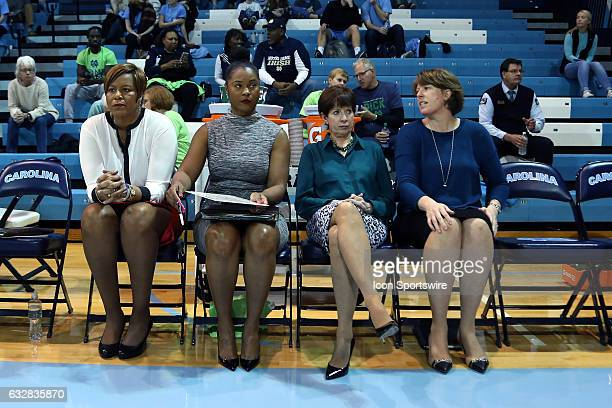 Notre Dame head coach Muffet McGraw with assistants Carol Owens Niele Ivey and Beth Cunningham The University of North Carolina Tar Heels hosted the...