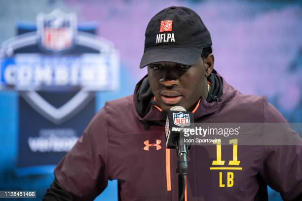 Notre Dame linebacker Te'Von Coney answers questions from the media during the NFL Scouting Combine on March 2 2019 at the Indiana Convention Center...