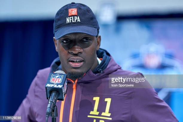 Notre Dame linebacker Te'Von Coney answers questions from the media during the NFL Scouting Combine on March 02 2019 at the Indiana Convention Center...
