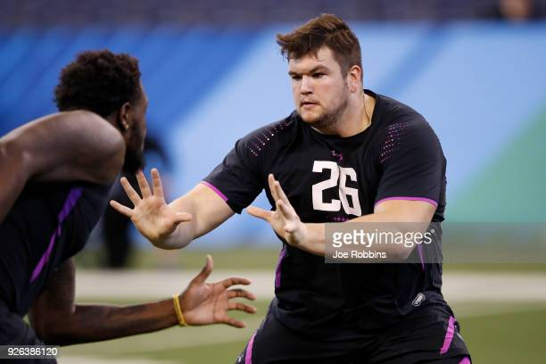 Notre Dame offensive lineman Quenton Nelson in action during the 2018 NFL Combine at Lucas Oil Stadium on March 2 2018 in Indianapolis Indiana