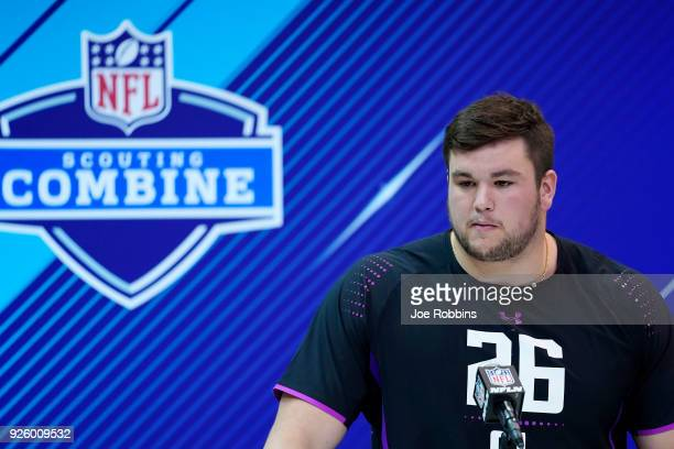 Notre Dame offensive lineman Quenton Nelson speaks to the media during NFL Combine press conferences at the Indiana Convention Center on March 1 2018...