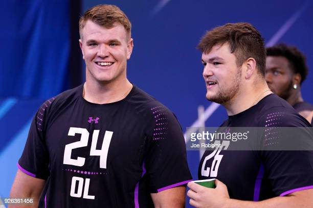 Notre Dame offensive linemen Mike McGlinchey and Quenton Nelson look on during the 2018 NFL Combine at Lucas Oil Stadium on March 2 2018 in...