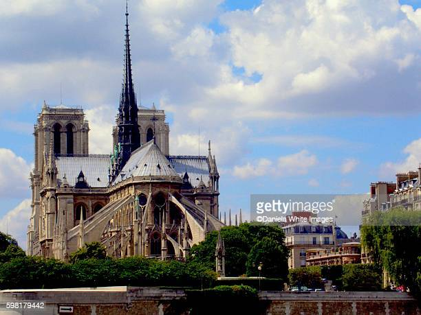 notre dame, paris, france - flying buttress stock photos and pictures