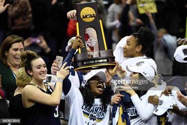 Notre Dame players celebrate winning the championship against Mississippi State during the championship game of the 2018 NCAA Division I Women's...