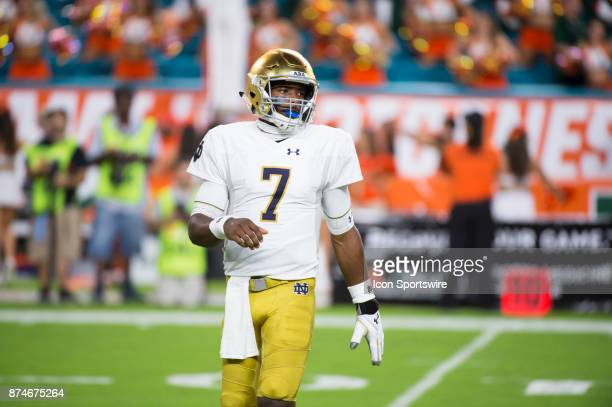Notre Dame Quarterback Brandon Wimbush during the college football game between the Notre Dame Fighting Irish and the University of Miami Hurricanes...