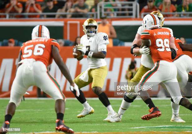 Notre Dame quarterback Brandon Wimbush passes during an NCAA football game between the Notre Dame Fighting Irish and the University of Miami...