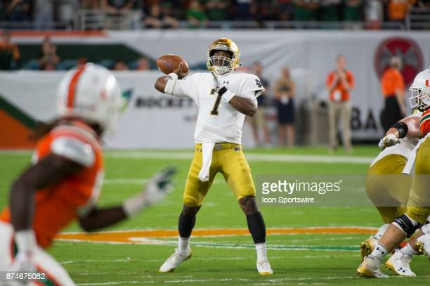 Notre Dame Quarterback Brandon Wimbush throws the ball during the college football game between the Notre Dame Fighting Irish and the University of...