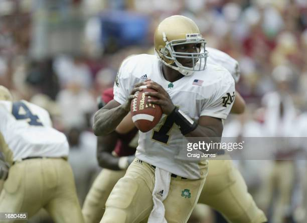Notre Dame quarterback Carlyle Holiday looks for a receiver during the NCAA football game against Florida State at Doak Campbell Stadium on October...