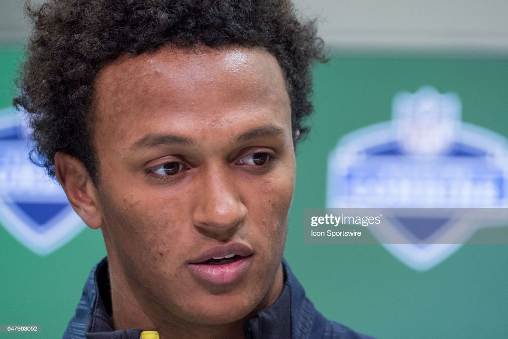 Notre Dame quarterback Deshone Kizer answers questions from members of the press during the NFL Scouting Combine on March 3, 2017 at Lucas Oil Stadium in Indianapolis, IN.