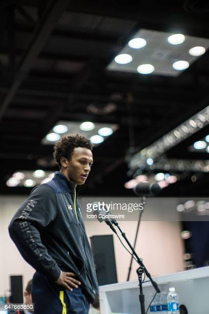 Notre Dame quarterback Deshone Kizer gives an interview to members of the press during the NFL Scouting Combine on March 3 2017 at Lucas Oil Stadium...