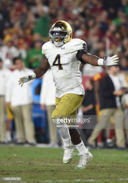 Notre Dame Te'von Coney celebrates after assisting in with a turnover during a college football game between the Notre Dame Fighting Irish and the...
