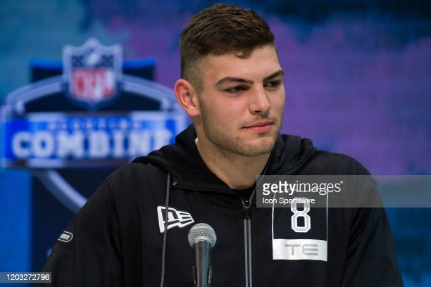 Notre Dame tight end Cole Kmet answers questions from the media during the NFL Scouting Combine on February 25 2020 at the Indiana Convention Center...