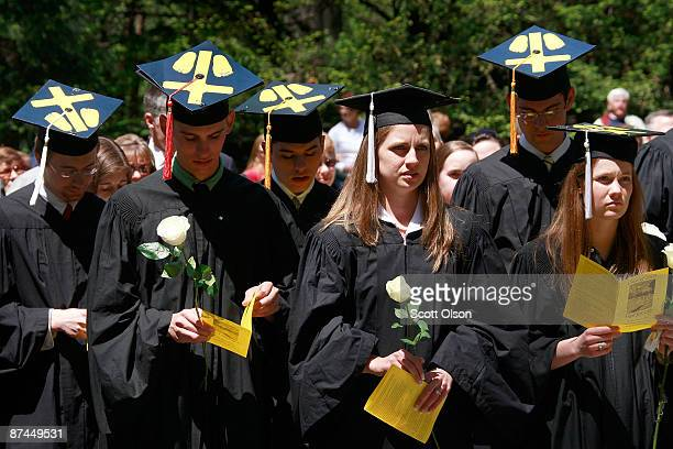 Notre Dame University students hold an alternative commencement cermony held to protest President Barack Obama's visit to the Grotto of Our Lady of...