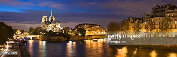 Notre Dame viewed over the river Seine at dusk