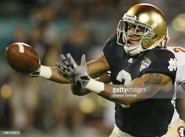 Notre Dame wide receiver Michael Floyd is unable to catch a pass during the Champs Sports Bowl against Florida State at the Florida Citrus Bowl in...
